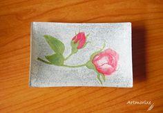 Artmorixe - Plato decoupage rosas