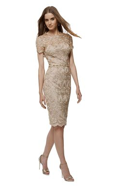 Shymay Women's Floral Lace Dress Mesh Formal Midi Scallop Bodycon Party Dress, Beige, 10
