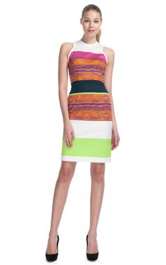 This sleeveless stretch drill sheath dress features a printed multicolor stripe pattern Exposed back zip 96% cotton, 4% elastane Unlined