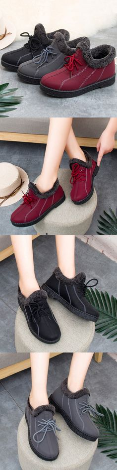 US$18.99  Warm Fur Lining Slip On Casual Ankle Boots