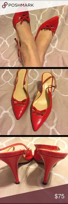 Kate Spade Red Kitten Heels Gorgeous red heels! Adjustable strap. Gently used, lots of life left! Small black mark on bottom that I couldn't remove. Priced accordingly. No trades. kate spade Shoes Heels