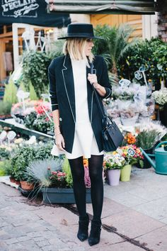 black blazer white piping + white dress + black tights + black boots | Damsel in Dior