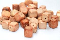 13 mm Beads of juniper - Teeth teether - Bead connector - Square bead - Wood Bead - Natural Wooden Beads - 13 mm with hole set of 5