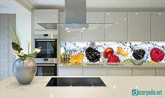 unique glass backsplash panels for modern kitchen, backsplash panel Small Kitchen Cabinets, Glass Kitchen, Kitchen Cabinet Design, Kitchen On A Budget, Interior Design Kitchen, Kitchen Decor, Kitchen Designs, Kitchen Furniture, Kitchen Backsplash Panels