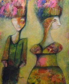 Fashion Dolls is an Outsider Expressionist Artwork Painting Ken Law Artist  24 by 20 Cup Cake canvas painting Series