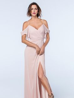 This feminine off-the-shoulder blush pink dress from the Watters Bridesmaids collection has been beautifully designed with a wrapped fabric bodice and is complete with a slit at the front of the skirt. Product name Aldridge 2511 in Buff.  View more Bridesmaid dresses from our Watters collection at: http://www.baroqueboutique.co.uk/bridesmaids/  Photographs courtesy of: https://www.watters.com/watters/bridesmaids/
