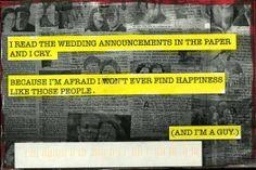 PostSecret: afraid of living out life alone