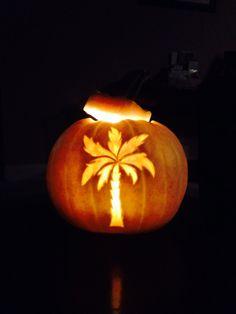 Palm tree carved white pumpkin