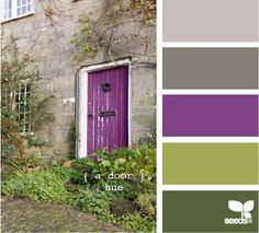 Home- Love the purple door (means a witch leves here) and those greens. I could paint the house the greens and it would almost disappear where I live. OOO love it.