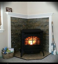 Our new mantle for our pellet stove More decor coming!
