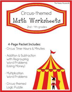 Free Circus Themed Math Worksheets - geared for 2nd-4th grades | The Happy Housewife