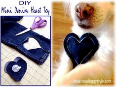 We used an old pair of jeans and a small squeaker    (you can buy replacement squeakers at most pet stores).       INSTRUCTIONS:  Cut...