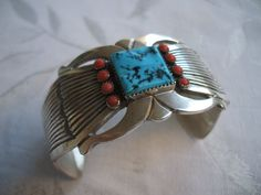 Heavy Vintage Revival Style NAVAJO Sterling Silver TURQUOISE & Coral Cuff BRACELET, Signed R. Martinez