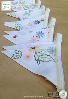 Floral Bunting Vintage Embroidered Fabric by DaisiesBlueShop