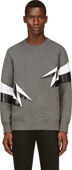 #NeilBarrett Grey Panelled Lightening Neoprene Pullover