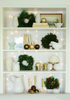 Natural Wreath For Christmas Bookcase, 2013 Christmas Wreath Decor Ideas #2013 #christmas #bookcase #decor www.loveitsomuch.com