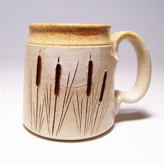 Cattails and Moon Pottery Coffee Mug Limited Series by JimAndGina,