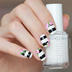 Black and White Striped Nails With Pink Roses