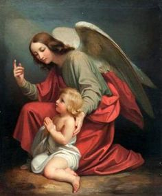 Guardian Angel Praying With A Child
