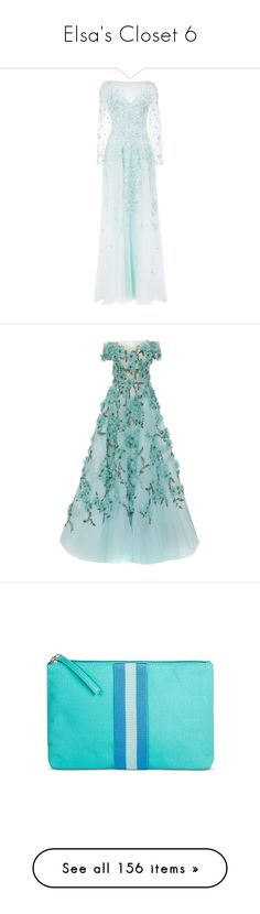 """Elsa's Closet 6"" by summersurf2014 ❤ liked on Polyvore featuring dresses, gowns, blue, long dress, evening gown, floral ball gown, long blue dress, sequin gown, floral embroidered dresses and floral evening gown"