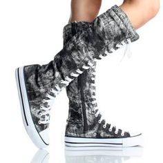 Canvas Sneakers Ladies Flat Tall Punk Womens Skate Shoes Lace Up Knee High Boots | eBay