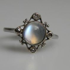 Antique Moonstone and Diamond Ring   DB Gems