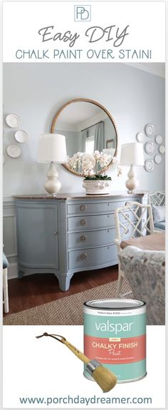 Yes you can use chalk paint right over stain! No priming or sanding required. Learn how I transformed this stained credenza with french blue shark fin chalk paint from Valspar. Learn how to create the custom glaze I used to create more depth and dimension. #chalkpaint #frenchcountry #paintideas