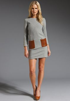 MAX FOWLES Round-Neck Dress with Leather Pockets in Grey/Tan at Revolve Clothing - Free Shipping!