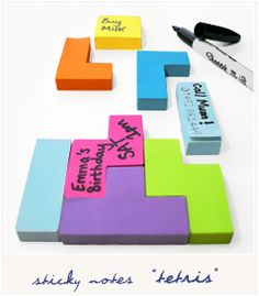 Post it tetris...if this is real I must have this!! It covers my love for office supplies and Tetris...double prizes!!