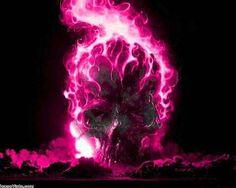 Skull pink flames