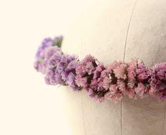Flower crown, Bridal headpiece, Dried flowers, Purple bridal crown, Wedding hair crown, Woodland boho headband - OMBRE