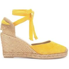 Erin Yellow Espadrille Wedges (£99) ❤ liked on Polyvore featuring shoes, sandals, wedge heel espadrilles, wedge sandals, yellow sandals, wedge shoes and wedge espadrilles