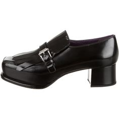 Pre-owned Prada Kiltie-Accented Loafers ($250) ❤ liked on Polyvore featuring shoes, loafers, black, genuine leather shoes, black loafers, black loafer shoes, prada and block heel loafers