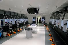15 Of The Most Impressive Dressing Rooms In Football - talkingbaws School Building Design, Sports Locker, Luxury Homes Dream Houses, Changing Room, Step Inside, Lockers, Cool Designs, Furniture Design, Soccer Stadium