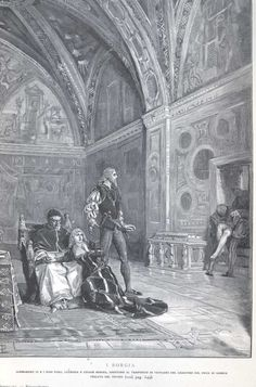 Juan Borgia's corpse is brought in as Rodrigo, Lucrezia and Cesare Borgia watch. Lucrezia Borgia, The Borgias, Borgia History, Borgia Series, Pope Paul Iii, Papal Bull, Medieval, Italy History, Catholic Religion