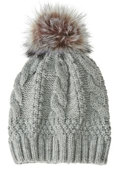 19f59359986 Woman Within Cable knit hat with pom-pom - Wide Width Women s