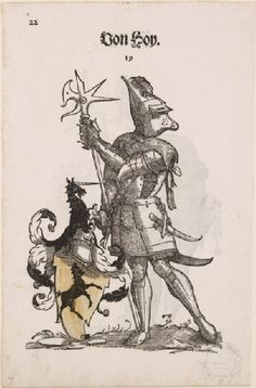 Recto: A Man in Armour with the Arms of Von Hoy Medieval Knight, Medieval Art, Types Of Armor, Landsknecht, Knight In Shining Armor, Arm Armor, Emblem, Coat Of Arms, Larp