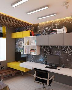 #interiordesign #interiordesigning #workstation #study #table #yellow #wooden #furniture #architecture #architect