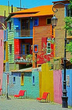 La Boca, Buenos Aires, Argentina is a very colorful place to visit. My husband and I walked from Avenida Maipu down Avenida Brown and ended up in La Boca. It was a fun adventure! Places Around The World, Oh The Places You'll Go, Places To Travel, Around The Worlds, Beautiful World, Beautiful Places, Colourful Buildings, Colorful Houses, World Of Color