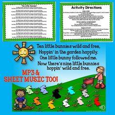 "READ-SING-MOVE ""Ten Little Bunnies"" ACTIVITY... by SING-PLAY-CREATIVELY | Teachers Pay Teachers"