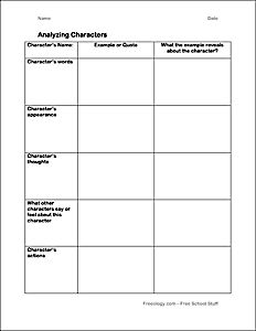 001 Character Analysis Graphic Organizer and Notebooking Page