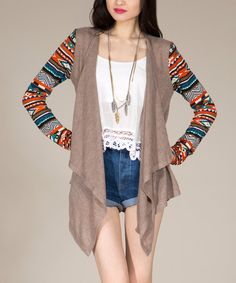 Take+a+look+at+the+Toffee+Tribal-Sleeve+Open+Cardigan+on+#zulily+today!