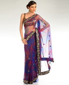 Violet and Navy Embellished Bandhani Sari