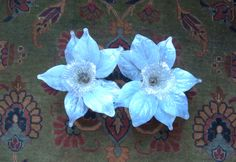 Pair of Vintage Glass Leaves Candleholders by lookonmytreasures on Etsy