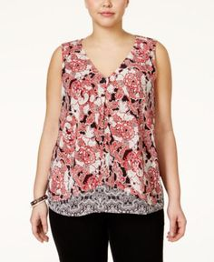 Lucky Brand Plus Size Mixed-Print Layered Sleeveless Top - Tops - Plus Sizes - Macy's