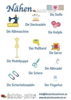 Nähen Deutsch Deutsch Wortschatz Grammatik German DAF Vocabulario Alemán
