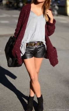 Black leather shorts