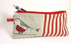 Pencil Case Cream  Felt Bird and Red Ticking. £13.00, via Etsy.