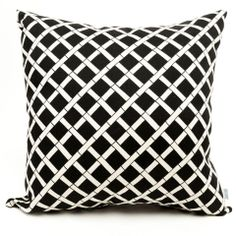 Throw Pillows |  Black with interlaced bamboo pattern.  #throwpillows #black #blackandwhite