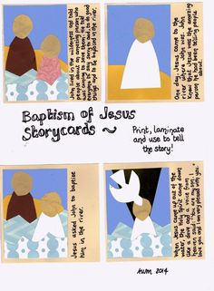 Telling the story of Jesus' baptism: Printable cards and fuzzy...
